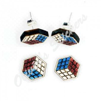 Painted Wooden Cube Earring